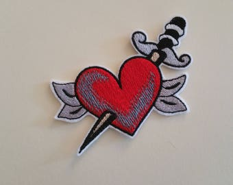 Heart with dagger iron on or sew on patchDagger heart patchHeart iron on patch Heart sew on patch Dagger patch Love iron on patch Love patch