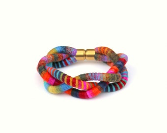 Colorful Braided Rope Bracelet For Women, Statement Bracelet, Big Textile Bracelet, Fabric Bracelet For Her, Unique Jewelry Gift