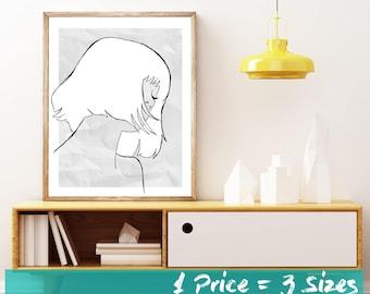 Line Art, Modern Art, Minimalist Print, Woman, Paper Girl