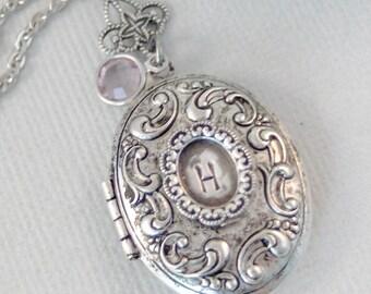 Intuition,Locket,Silver Locket,Monogram,Personalize,Mom Necklace,Antique Locket,Monogram Necklace,Initial,Locket, valleygirldesigns.