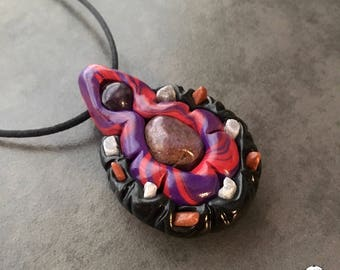 Amethyst and Ruby No Means No! Fanged Fem Pendant