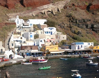 Greece Photography - Houses By Amoudi Bay - Santorini - Wall Decor - Mediterranean Fine Art Print