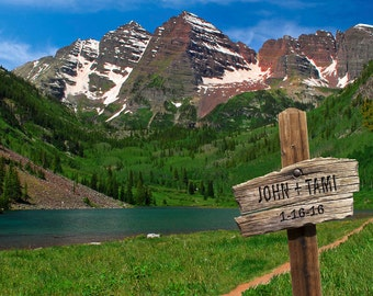 Wedding Gift Maroon Bells Personalized Trail Sign Aspen Colorado Denver Names Photo Anniversary Valentines Day pp153