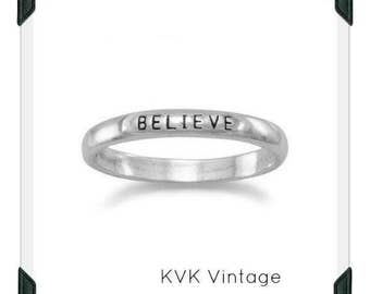"Oxidized ""Believe"" Band - Inspirational Ring, Stamped Ring"