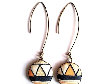 Fabric designer cabochon - designer jewelry earrings