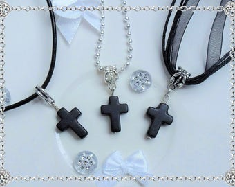 Small cross pendant necklace black howlite on silver bail - string organza