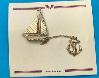 Charming 1940s Sailing Boat and Anchor Brooch...