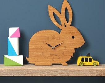 Rabbit Clock, Modern Wall Clock, Children's Clock, laser cut by Owl & Otter