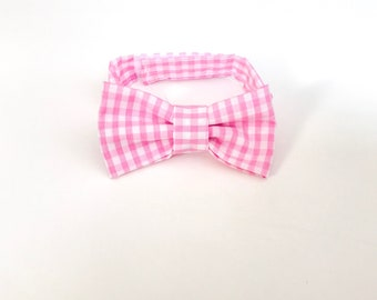Pink checked Bow Tie ~ Baby Bow tie ~Pink and white bow ~ Daddy and me bow tie~ page boy bow tie~ wedding bow tie~ Spring bow~ groomsmen tie