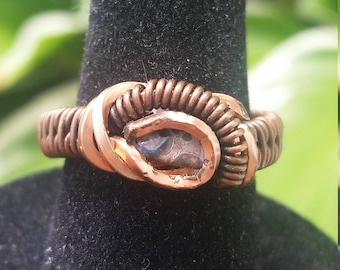 Wire Wrapped Copper Ring - Size 6 - Multi Colored Gemstone