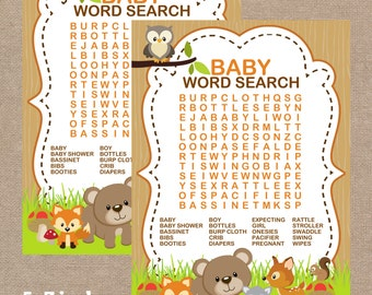 INSTANT DOWNLOAD, Woodland Baby Shower Word Search, Printable Baby Shower Games, Baby Shower Games, Word Search, Woodland (#571)