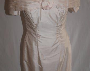 Vintage bandeau dress in pale pink shot silk 1980s UK Size 10 - 12