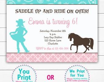 Horseback riding birthday invitation -- horseback riding party --  horses -  girls birthday -- You  print or I print
