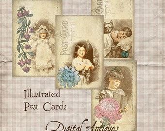 Vintage Illustrated Post Cards Printable  Digital Download