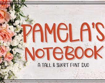 Pamela's Notebook, Font, Duo, Hand Written, Hand Lettered, Simple, Sans Serif, Font Bundle, Discount, Typeface, Cutting, Silhouette, Cricut