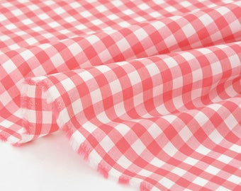 Fabric Japanese cotton gingham woven deep pink x50cm batiste