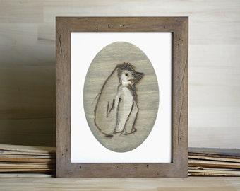 Gray Penguin Art Print, Penguin Wall Art, thepaintedgrove