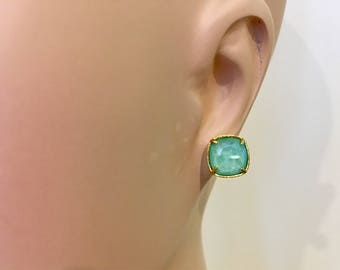 Cushion Cut Mint Green Swarovski Gold Post Earrings