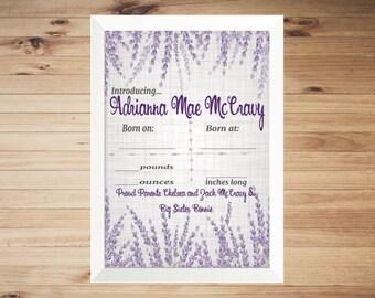 Printable Girls Lavender Floral Hospital Door Hanger
