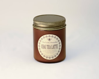 Chai Tea Latte || 8.5 oz Scented Candle || Soy + Beeswax Blend Candle in Amber Jar