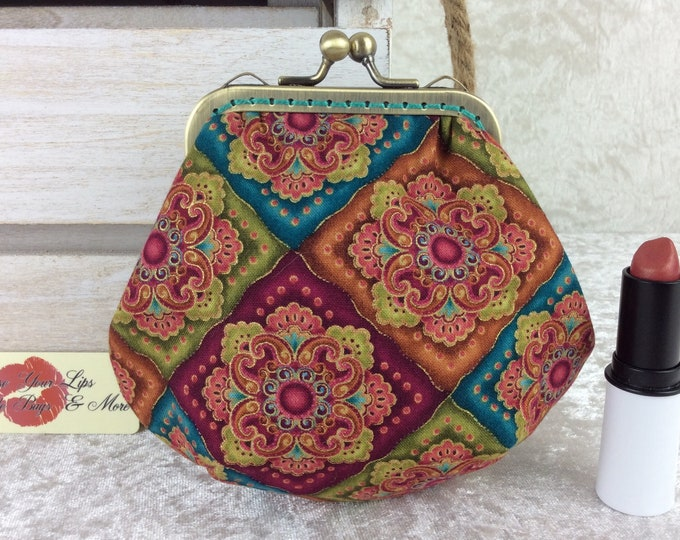 Jaquard coin purse wallet fabric kiss clasp frame wallet change pouch geometric