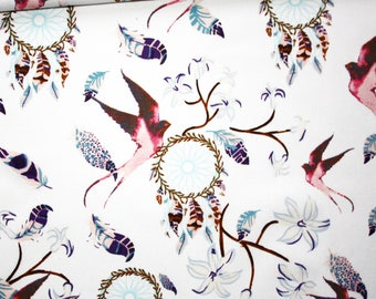 Fabric Dreamcatcher, swallows, birds, feathers, 100% cotton printed 50 x 160 cm, dream catchers, white background
