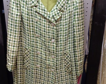 VINTAGE 1960's Ladies Green and White  LILLIE RUBIN Spring Coat (available)