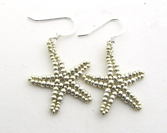 Beaded Starfish Earrings, Metallic Silver Colour