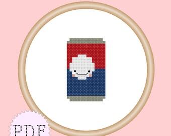 Kawaii Soda Pop Mini Cross Stitch Pattern PDF INSTANT DOWNLOAD