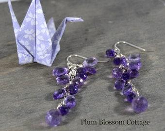 Purple Amethyst Cluster Earrings, Sparkling Gemstone Jewelry, Cascading Gemstone Cluster, Briolette Jewelry, Sterling Silver, One-of-a-kind