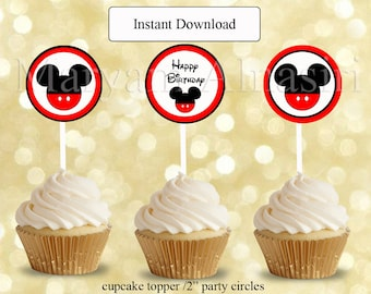 mickey  mouse  cupcake topper red  party circle printable instant download