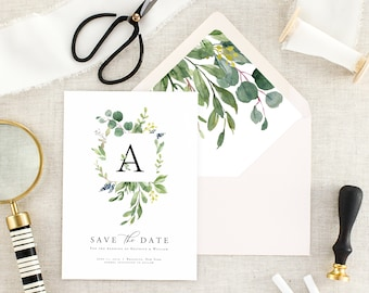 Eucalyptus Wedding Save the Dates - Save the Date Cards - Rustic Save the Date - Save Our Date - Green Save the Date Printed - Set of 10