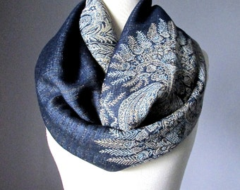 Fast Shipping, Winter scarf, Midnight Blue scarf, pashmina, Paisley scarf, Fern scarf