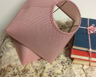 Vintage Pair of Red and White Gingham Print Lamp Shades Country Cottage  Chic  Farmhouse Style Boudoir Decor