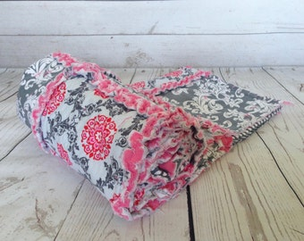 Floral Pink and GreyRag Quilt - Baby/Little Girl Rag Quilt - Throw Quilt - Handmade