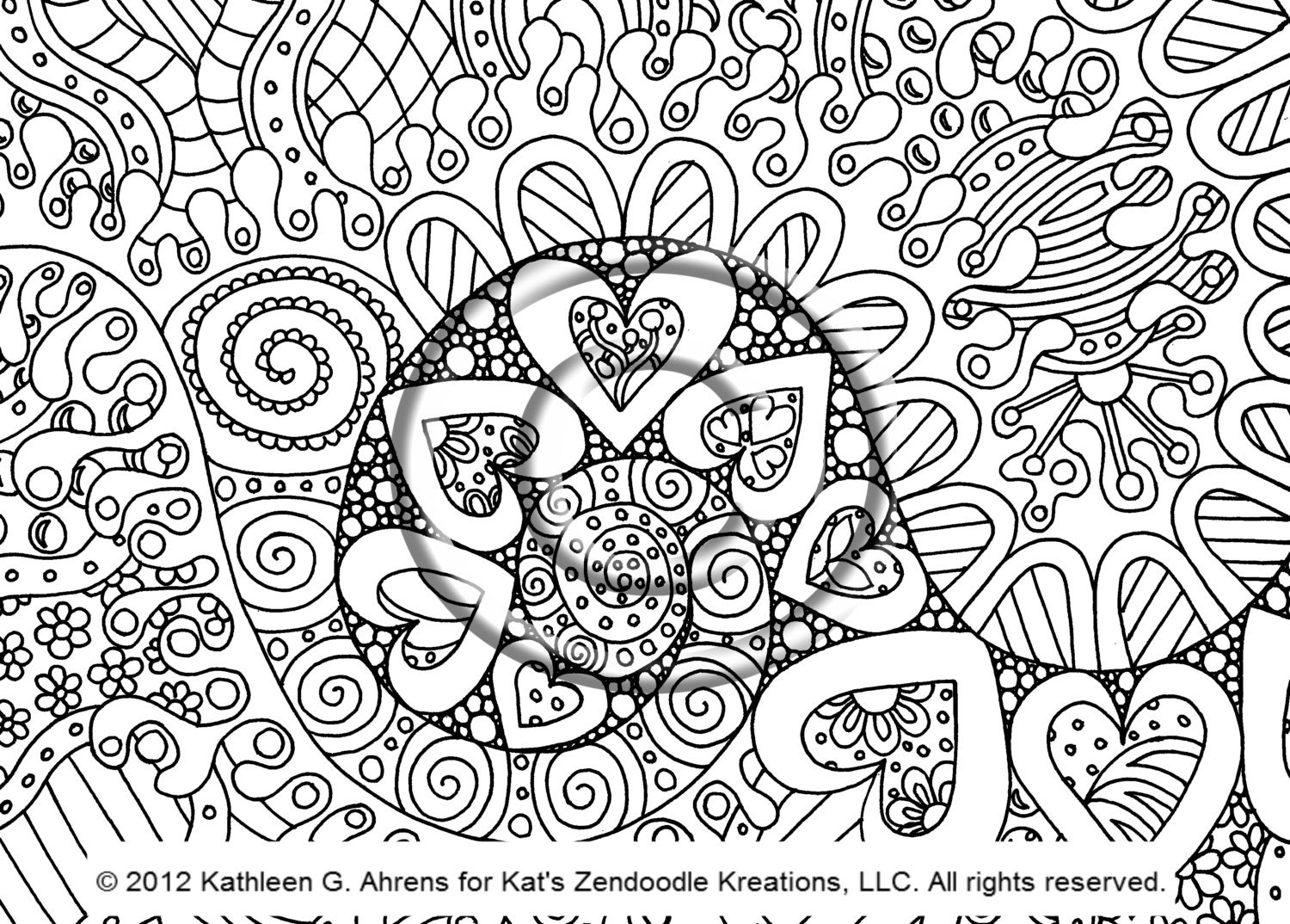 Instant Pdf Digital Download Coloring Page Hand Drawn