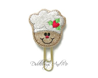 Gingerbread Chef Planner Clips, Glitter Vinyl Paper Clip, Christmas Paper Clips, Accessory For Planner, Gingerbread Paper Clips