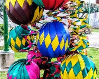 12 Mexican woven balls, Mexican ornaments, Mexican banner, Aztec party decor, Mexican decor, Cinco de mayo Fiesta, Mexican Christmas spheres