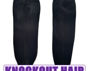 "Fits like a Halo Hair Extensions 20"" Jet Black (#1) - Human No Clip In Flip In Couture by Knockout Hair"