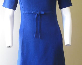 Blue princess dress, 1960s vintage Stacy Ames linen-blend frock with bow, USA, size small