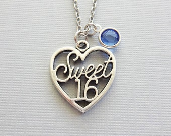 Sweet 16 Necklace, Sweet Sixteen, Teen Necklace, Teenager Gift, BFF, Friend Birthday Gift, Silver Necklace, Swarovski Channel Birthstone