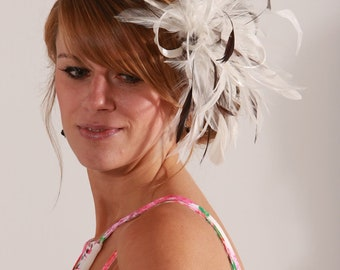Ivory & Brown Feather Fascinator Hat- Headband or comb  Any colour can be ordered - Wedding,Bridal,Mother of the Bride,Tea Party,Ascot
