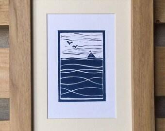 Sailing boat Lino print