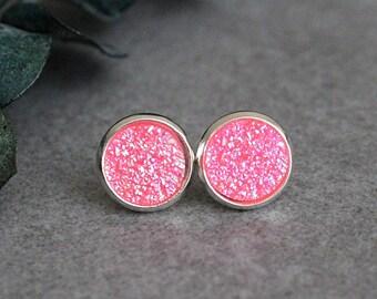 Neon Pink Stud Earrings, Pink Druzy Earring, Neon Pink Earrings, Bright Pink Earrings, Pink Post Earrings, Pink Bridesmaid Earrings, 10MM