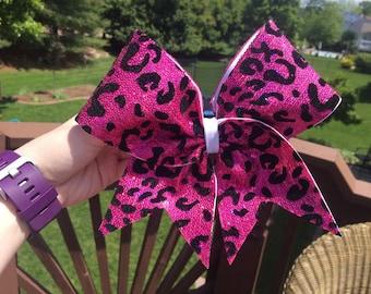 Hot Pink Sequin Cheetah Print Cheer Bow