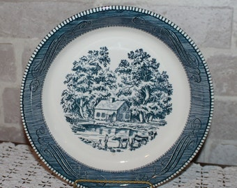 Currier and Ives 10 inch pie plate or dish Royal China Sebring Ohio blue transfer ware & 10 inch pie plate | Etsy