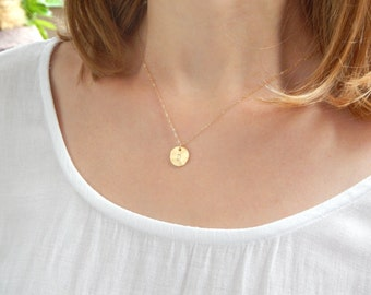 Dainty gold initial necklace, disc necklace, custom initial, gold coin, gold initial necklace, monogram necklace, personalized gift 333