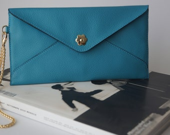 Leather Clutch Pochette Turquoise