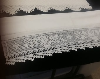 Vintage Large Linen Towel with Ornate Crochet Edging
