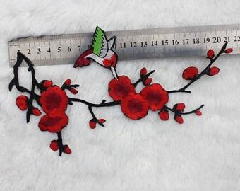 2pcs Embroidery Plum flower Venice Lace Appliques Wedding Decor Bridal Headwear Alencon Lace Patch YL593